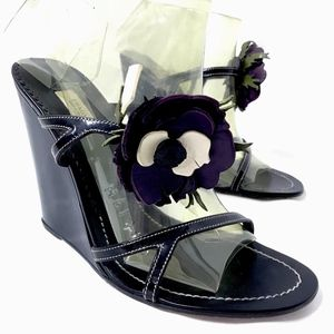 PRADA Wedges Heel Sandal Black Leather Floral